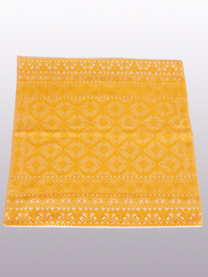 MEXICAN TEXTILES / Handwoven pillow cover - Diamonds in Dark Yellow